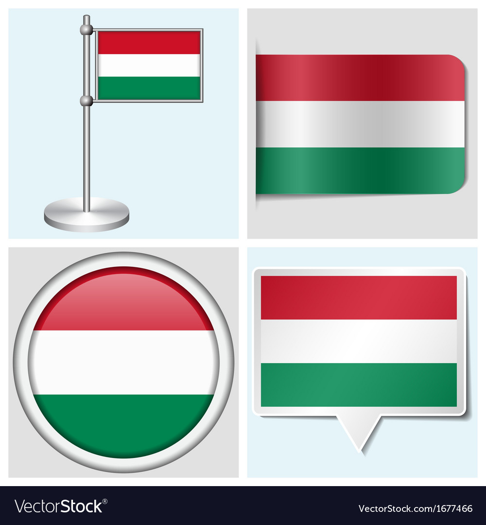 Hungary flag - sticker button label flagstaff vector | Price: 1 Credit (USD $1)