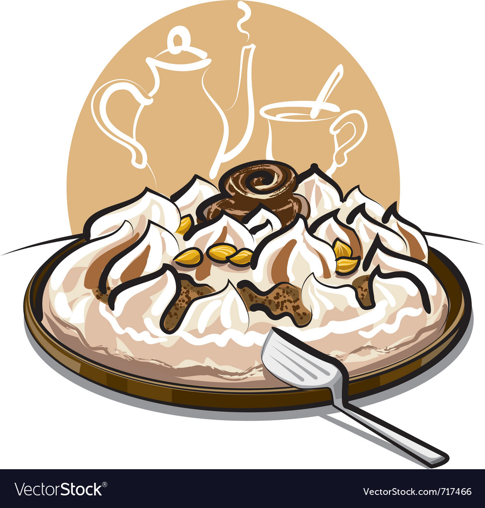 Ice cream cake and tea vector | Price: 3 Credit (USD $3)