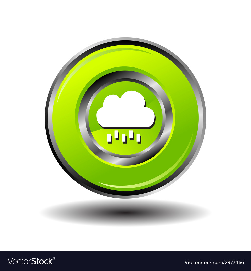 Round button weather icon - bubble cloud with rain vector   Price: 1 Credit (USD $1)
