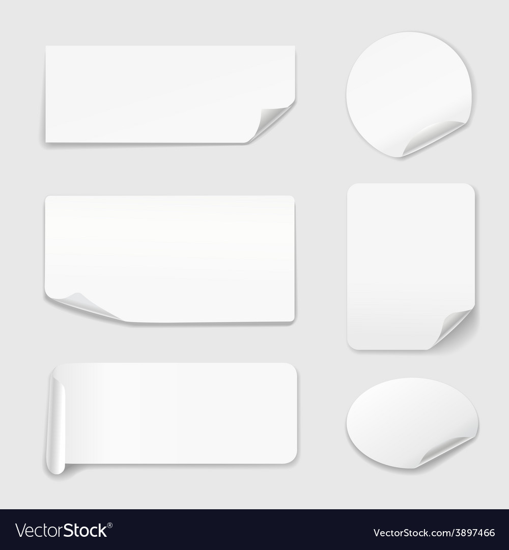 White stickers  set of paper stickers isolated on vector