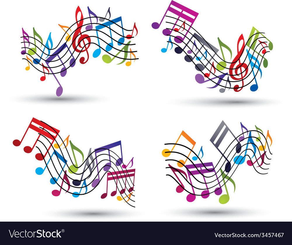 Bright jolly staves with musical notes on white vector | Price: 1 Credit (USD $1)