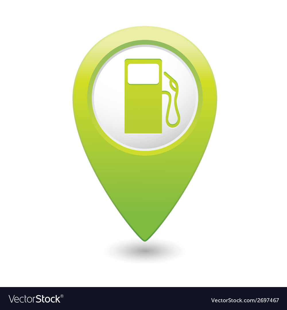 Gas station map pointer green vector | Price: 1 Credit (USD $1)