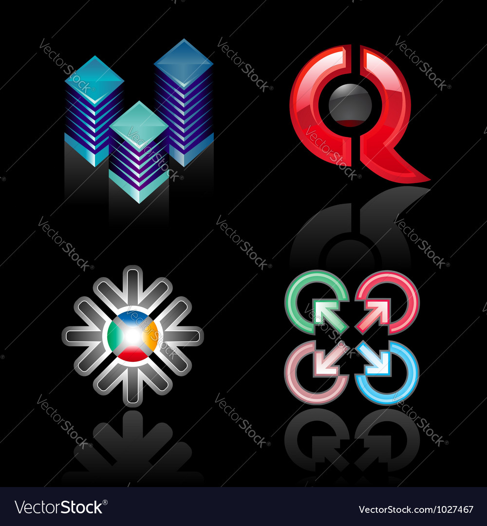 Set emblems on a black background vector | Price: 1 Credit (USD $1)