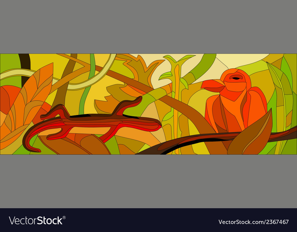 Stained glass with wild nature vector | Price: 1 Credit (USD $1)