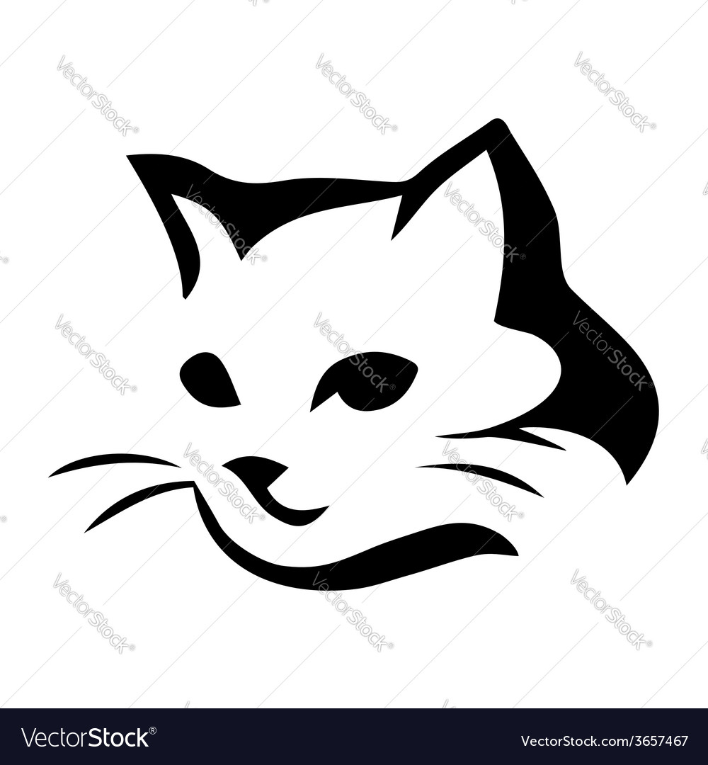 Stylized cat icon on white background vector | Price: 1 Credit (USD $1)