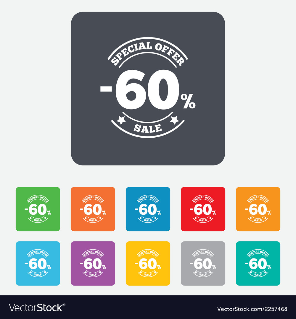 60 percent discount sign icon sale symbol vector | Price: 1 Credit (USD $1)