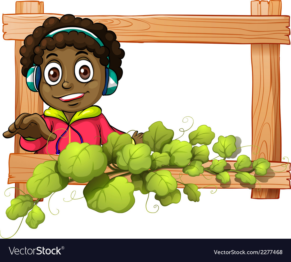 A frame with a boy and plants vector | Price: 1 Credit (USD $1)