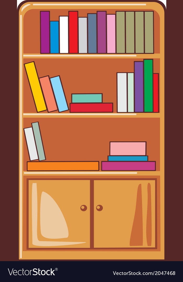 Books on wooden shelves vector | Price: 1 Credit (USD $1)
