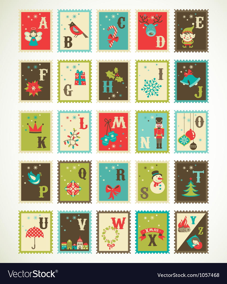 Christmas retro alphabet with cute xmas icons vector | Price: 3 Credit (USD $3)
