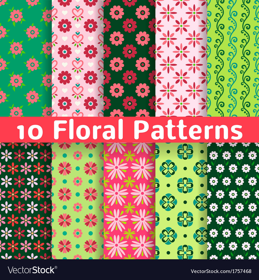 Different floral seamless patterns tiling vector | Price: 1 Credit (USD $1)