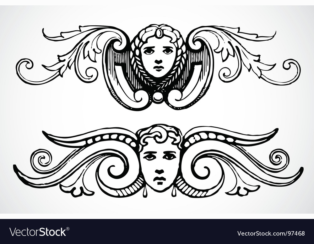 Female header ornaments vector | Price: 1 Credit (USD $1)
