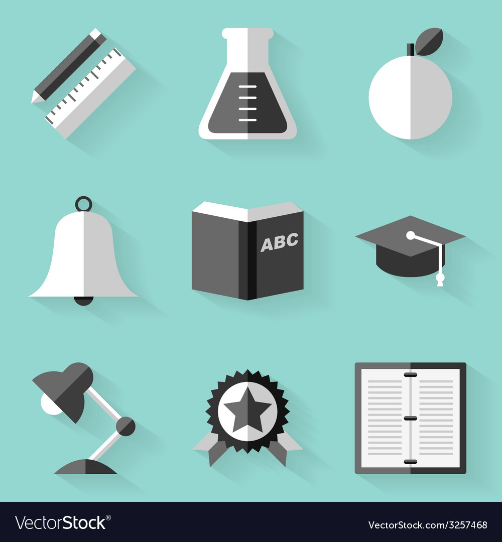 Flat icon set education white style vector | Price: 1 Credit (USD $1)
