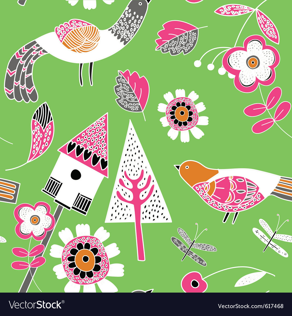 Floral birds pattern vector | Price: 1 Credit (USD $1)