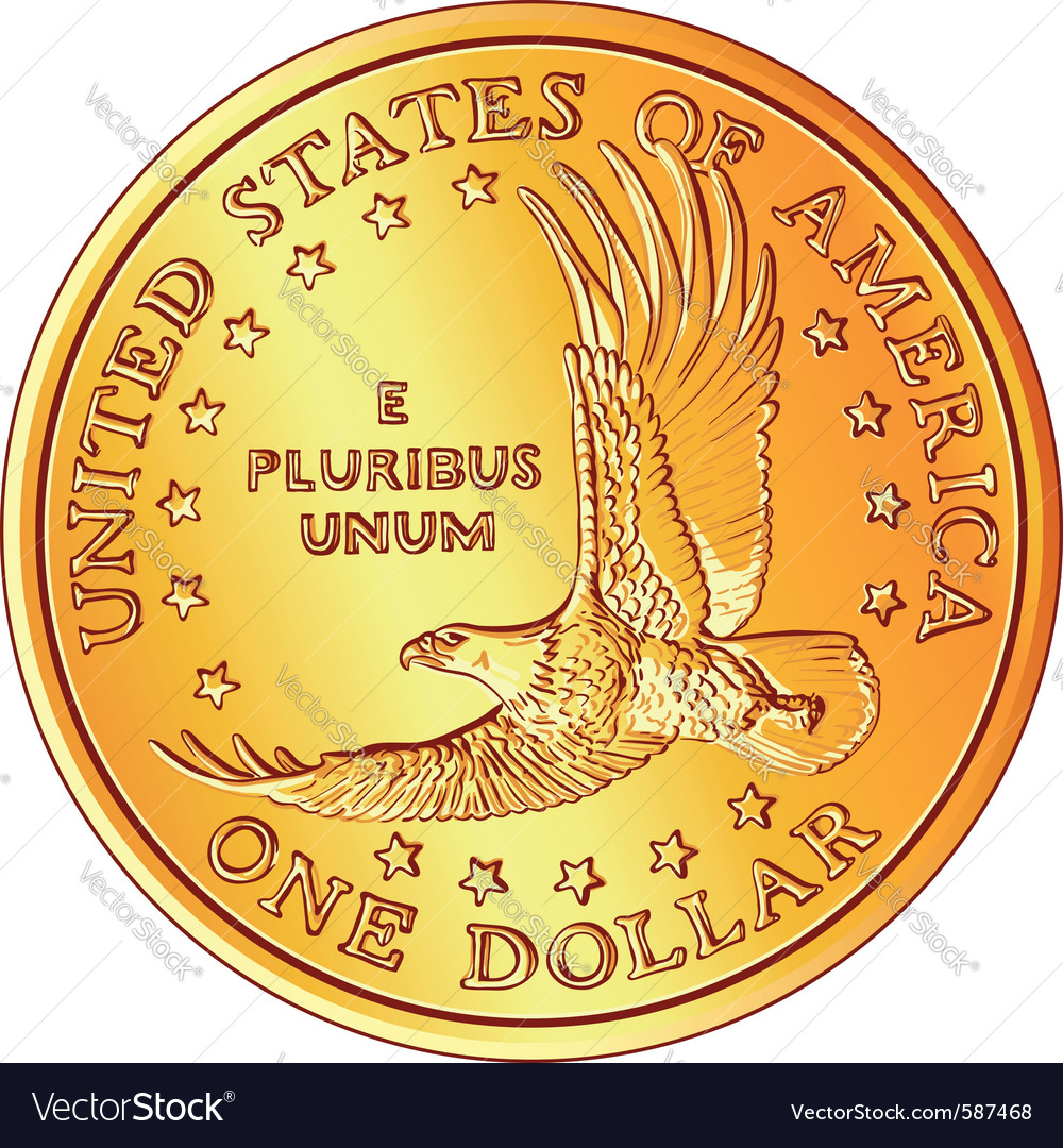 Gold dollar coin vector | Price: 1 Credit (USD $1)