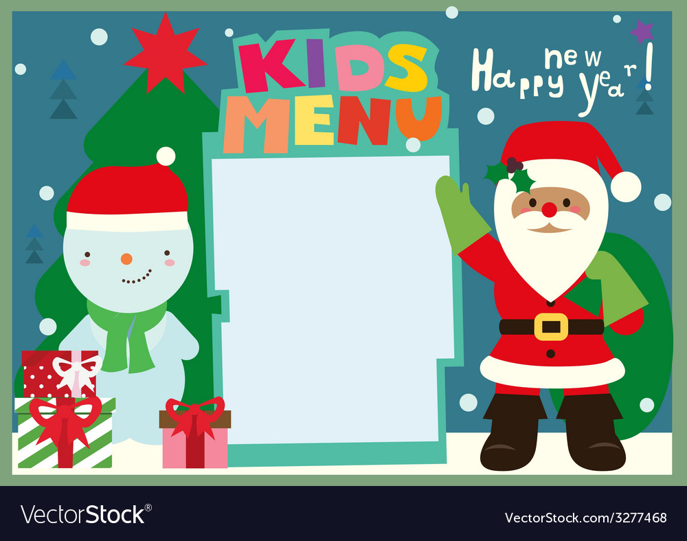 Kids menu a3 format winter holiday with santa and vector | Price: 1 Credit (USD $1)