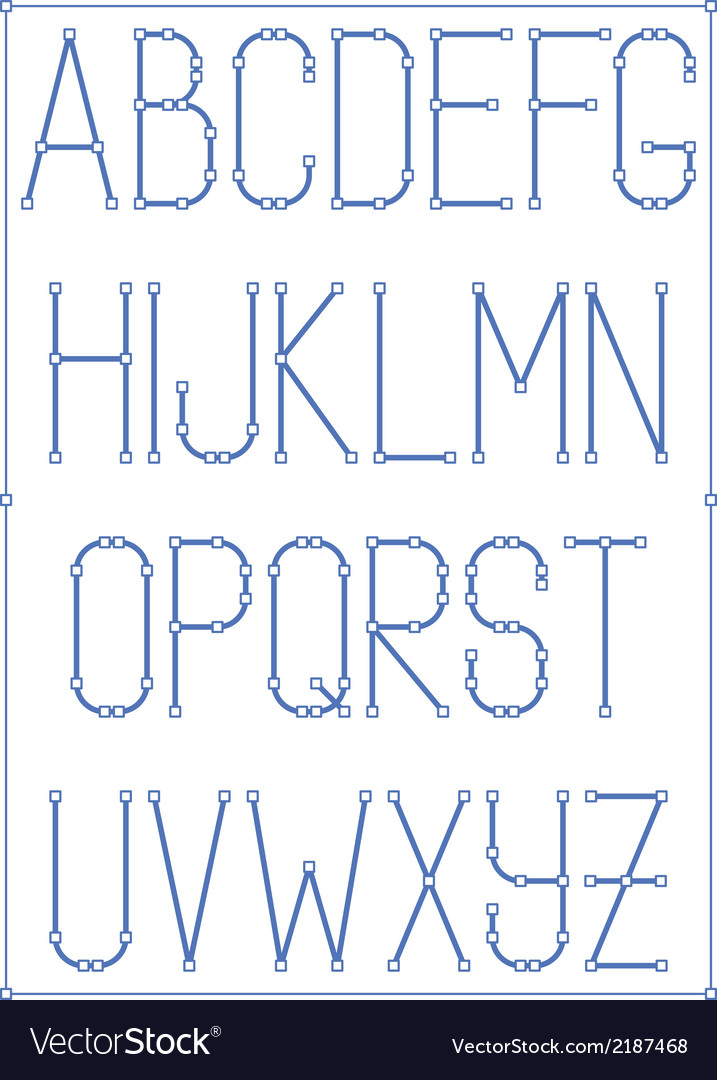 Light thin font type with nodes style alphabet vector | Price: 1 Credit (USD $1)