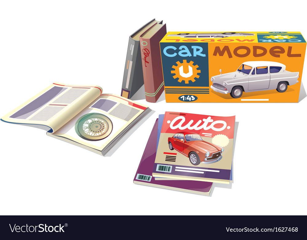 Magazines books and the car model vector | Price: 1 Credit (USD $1)