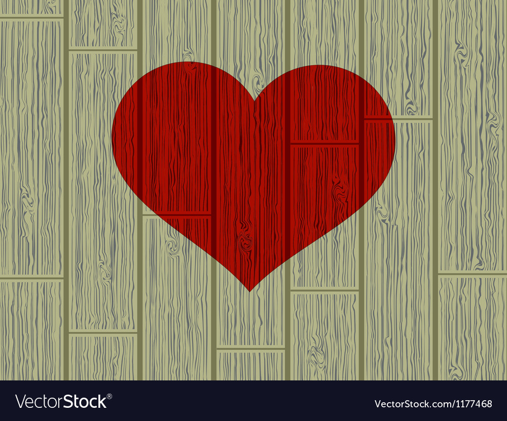 Valentines day concept heart on wood eps 8 vector | Price: 1 Credit (USD $1)