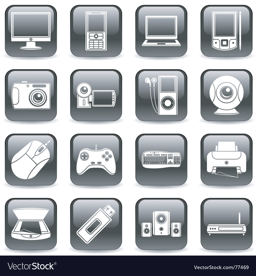 Computer and media icons vector | Price: 1 Credit (USD $1)