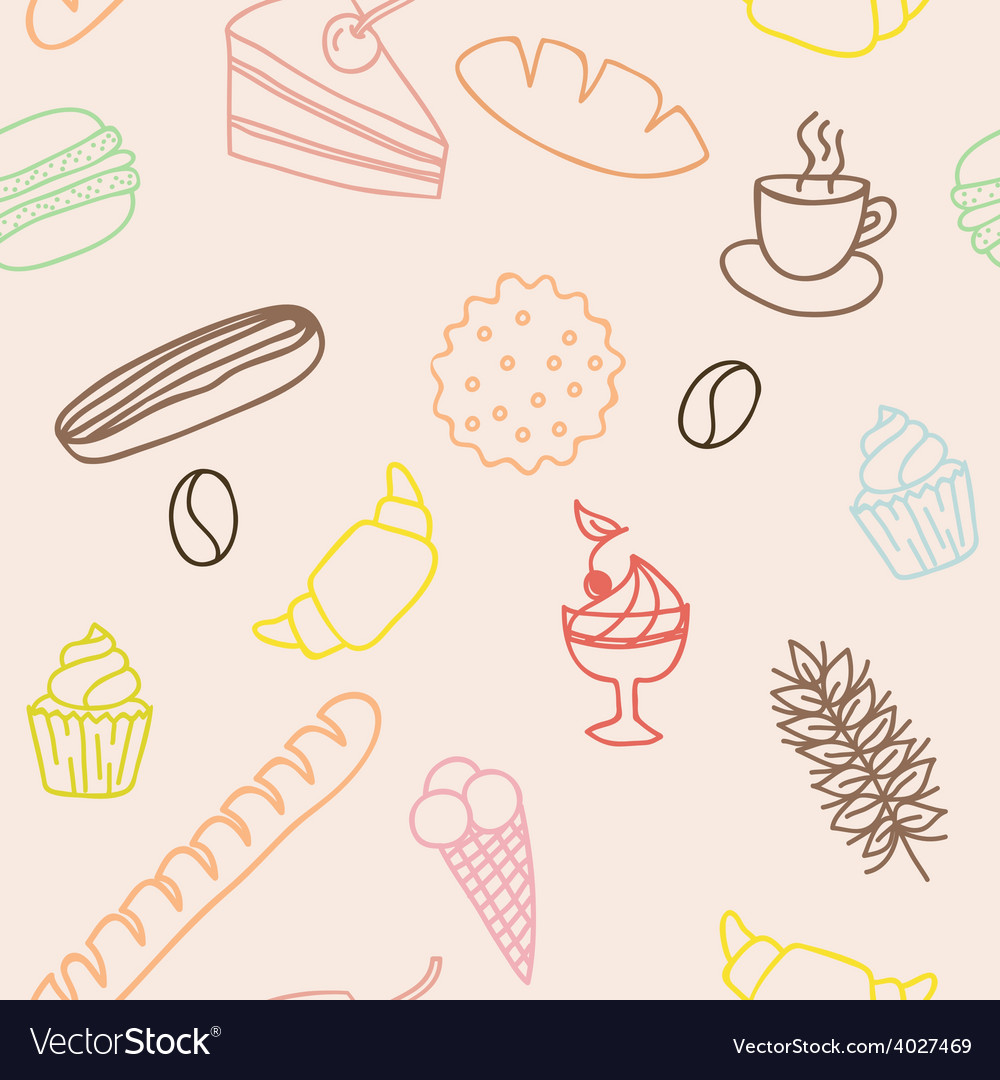 Seamless pattern with bread rolls cakes cookies vector | Price: 1 Credit (USD $1)
