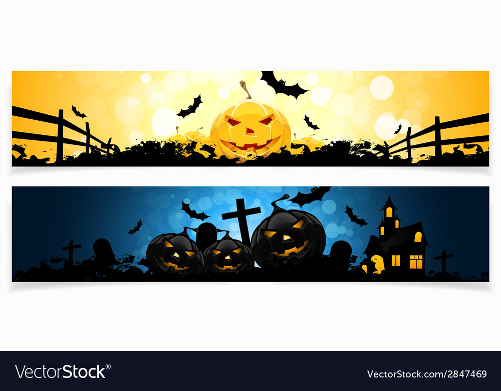 Set of horizontal halloween banners vector | Price: 1 Credit (USD $1)