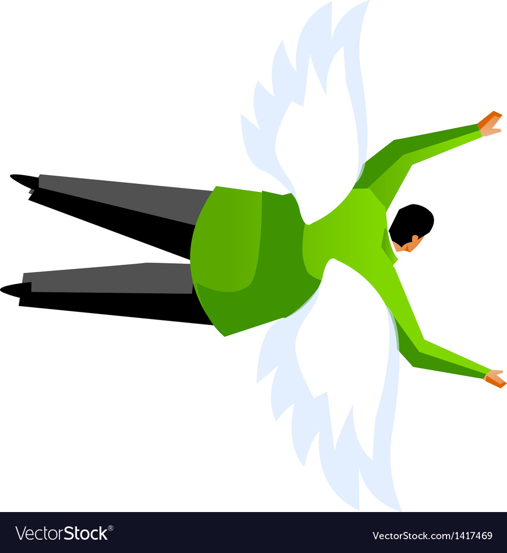 Side view of man flying vector | Price: 1 Credit (USD $1)