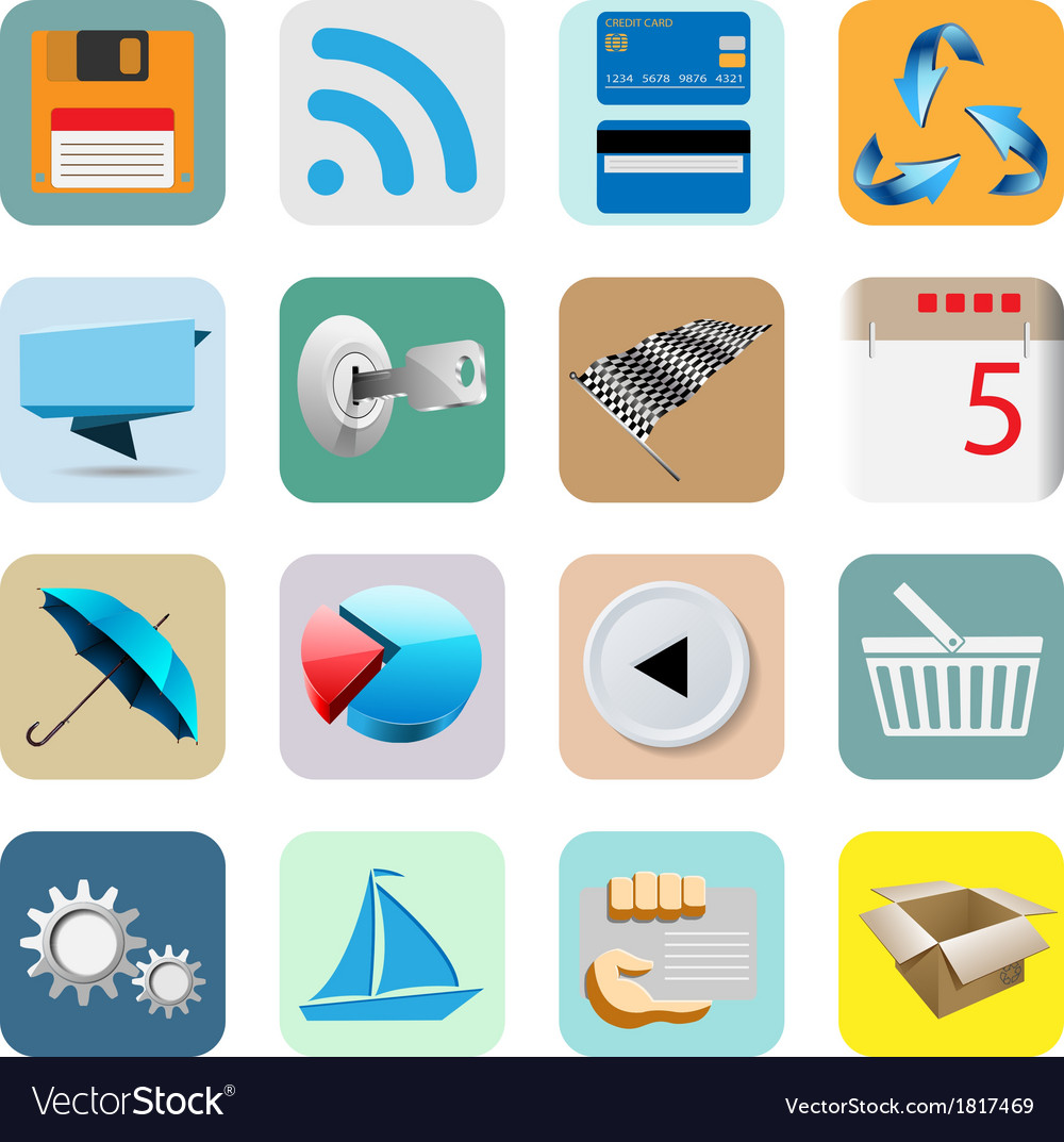 Smart phone icons vector | Price: 1 Credit (USD $1)