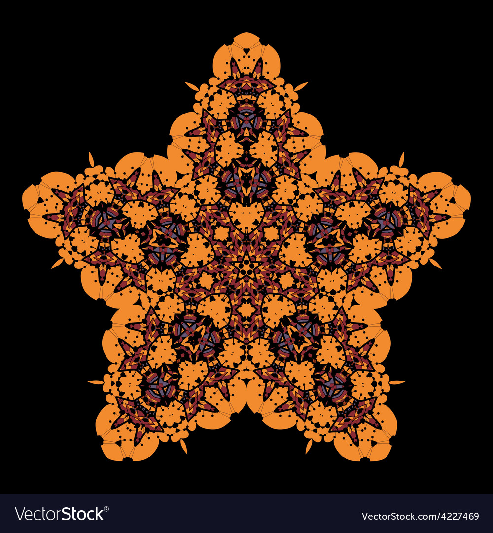 Tribal star on black ornamental colorful vector | Price: 1 Credit (USD $1)