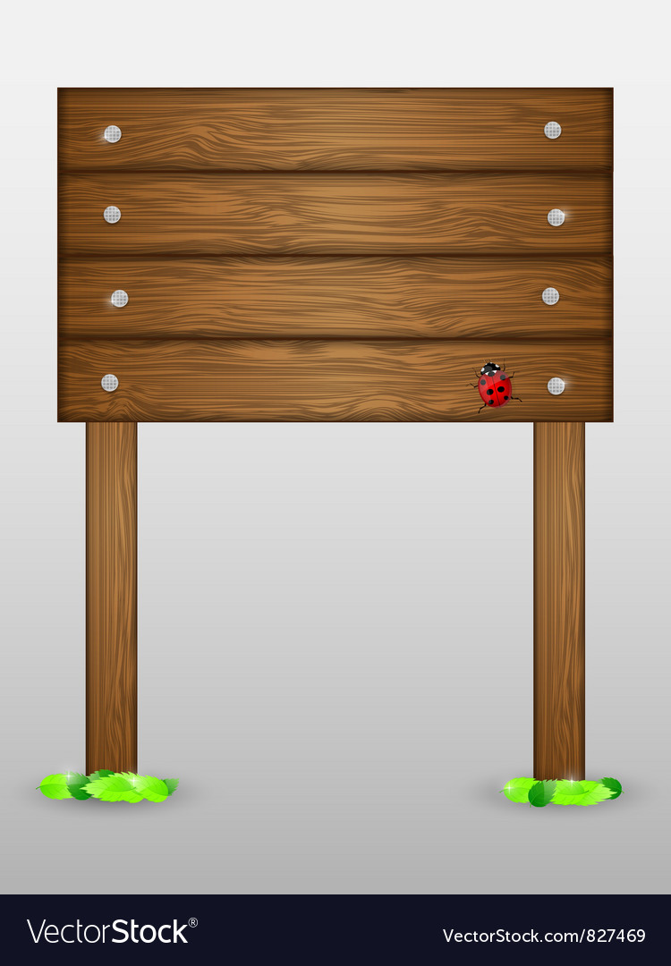 Wooden signboard with ladybird vector | Price: 1 Credit (USD $1)