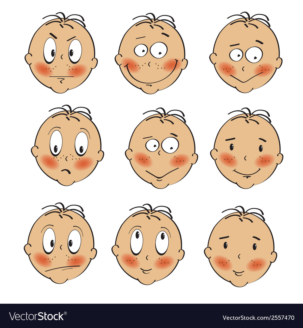 Baby boy faces collection on white background vector | Price: 1 Credit (USD $1)