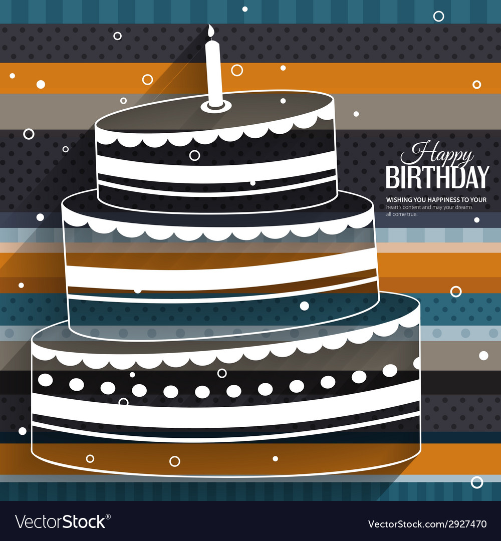 Birthday card with cake on stripes colorful vector   Price: 1 Credit (USD $1)