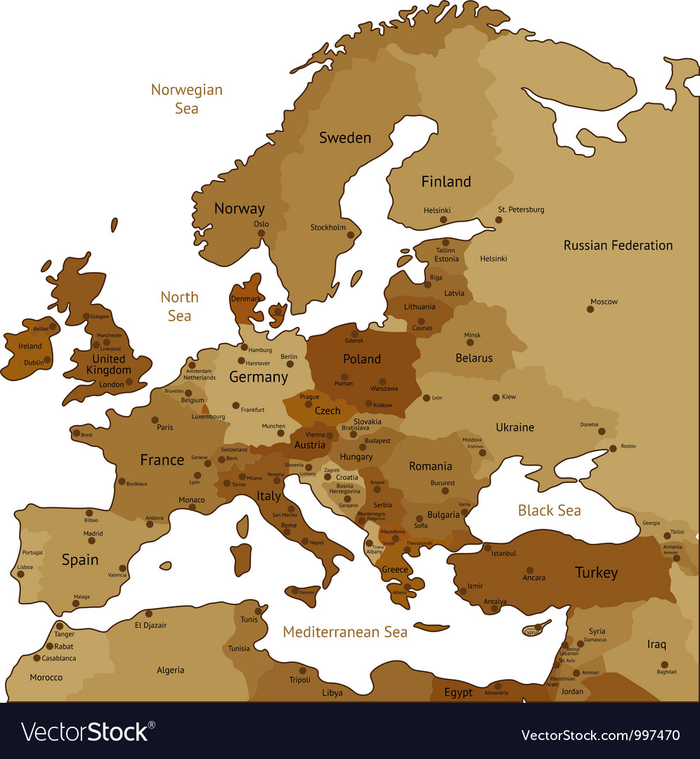 Brown map of europe vector | Price: 1 Credit (USD $1)