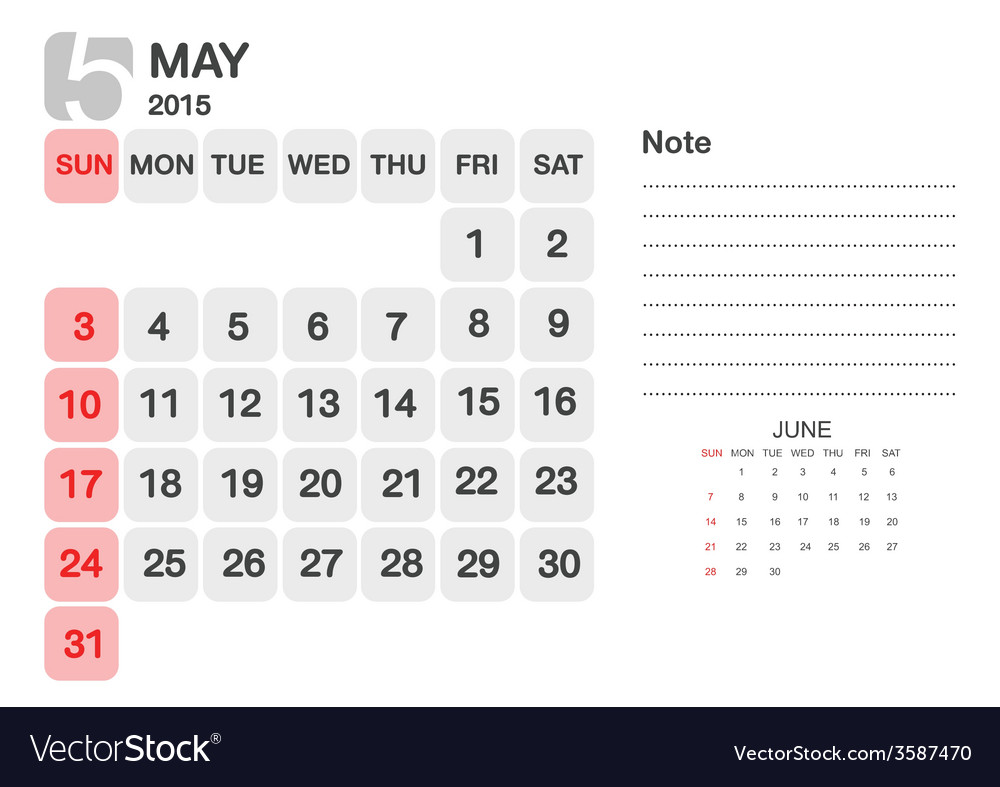 Calendar may 2015 vector | Price: 1 Credit (USD $1)