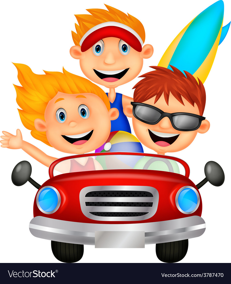 Cartoon young man and woman having fun driving the vector | Price: 1 Credit (USD $1)