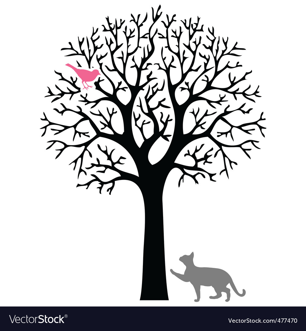 Cat and bird vector | Price: 1 Credit (USD $1)