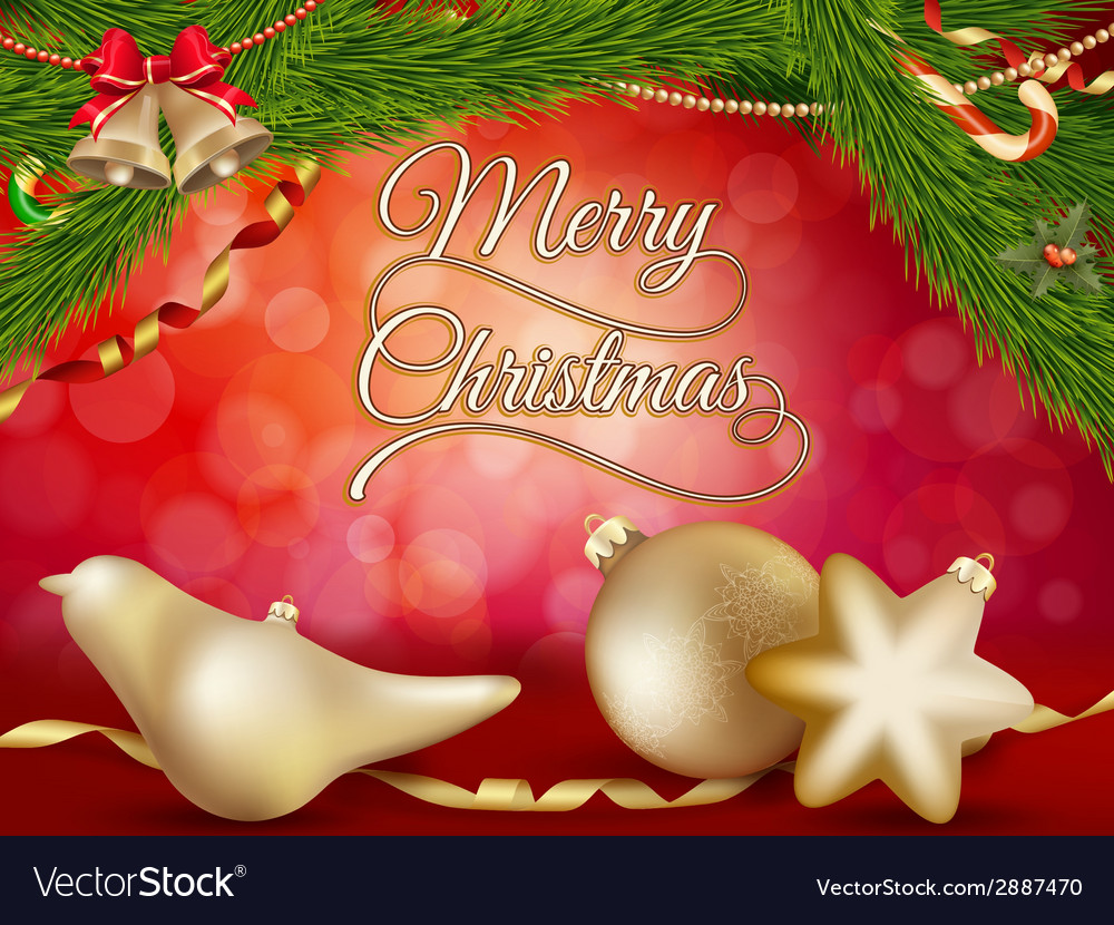 Christmas background with gold baubles eps 10 vector | Price: 1 Credit (USD $1)