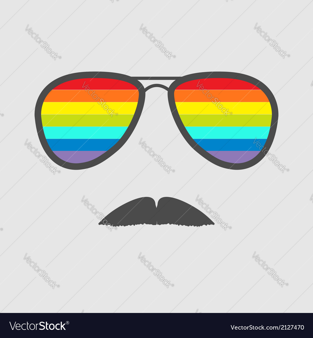 Glasses with rainbow lenses and mustaches isolated vector | Price: 1 Credit (USD $1)