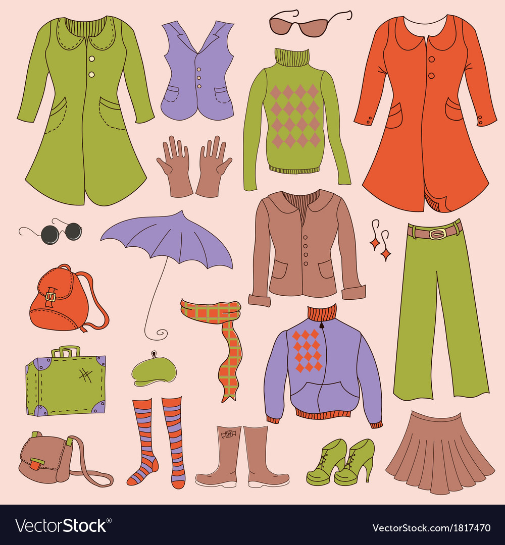 Set retro woman clothes vector | Price: 1 Credit (USD $1)