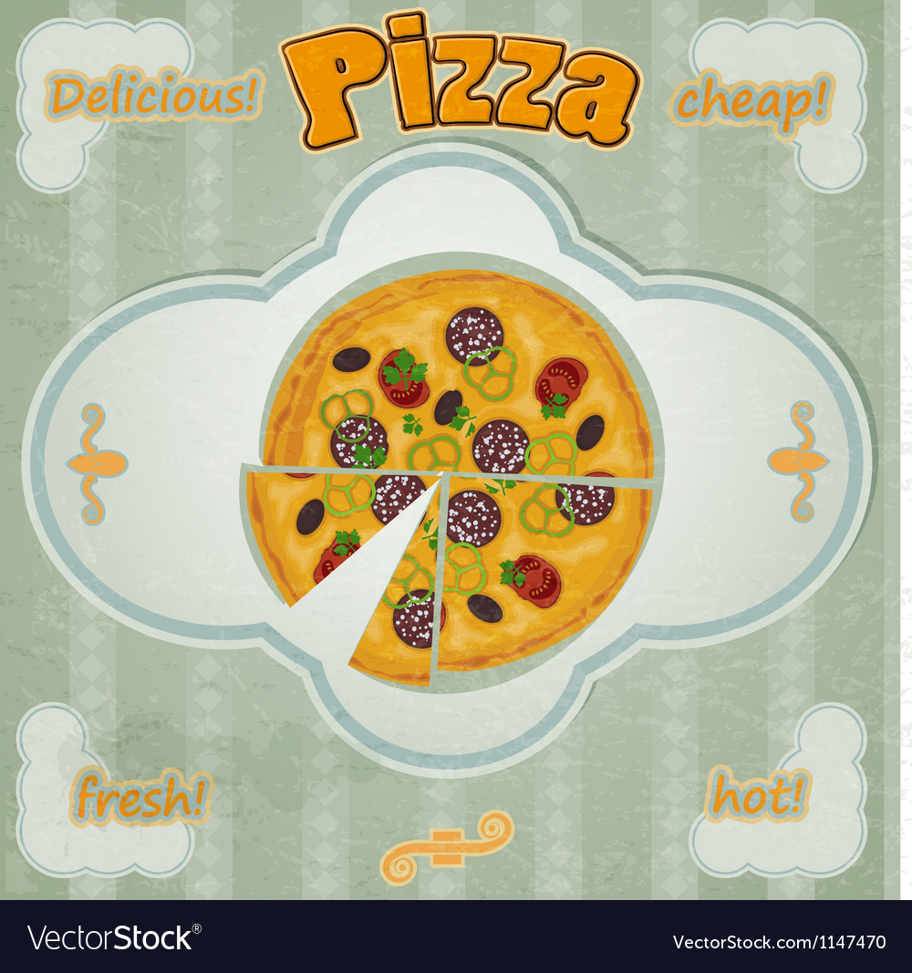 Vintage card with a picture of pizza vector | Price: 1 Credit (USD $1)