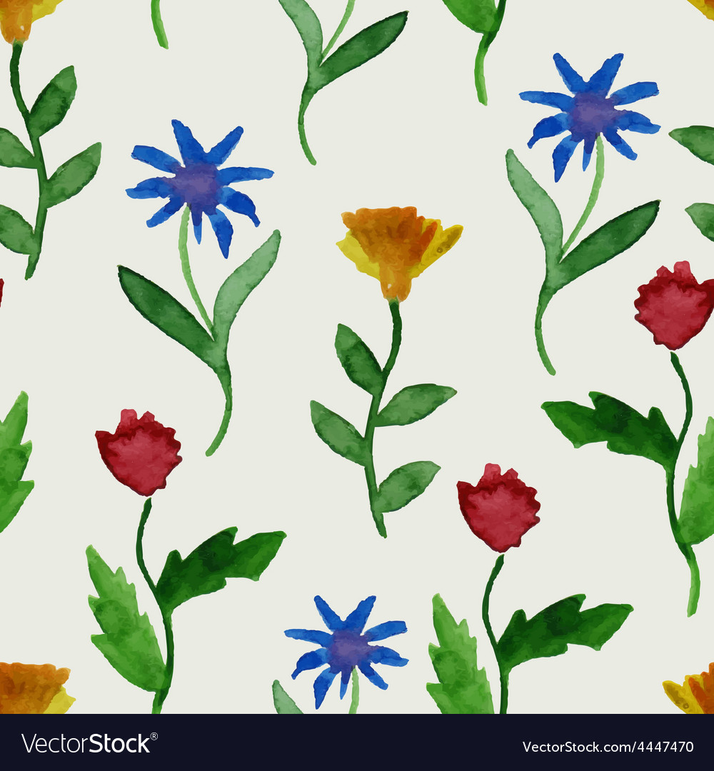Watercolor summer seamless pattern vector | Price: 1 Credit (USD $1)