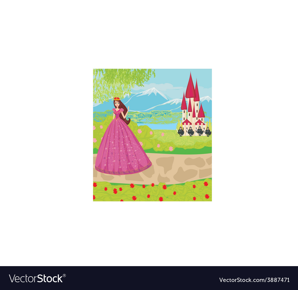 Beautiful princess and knights guard the entrance vector | Price: 1 Credit (USD $1)