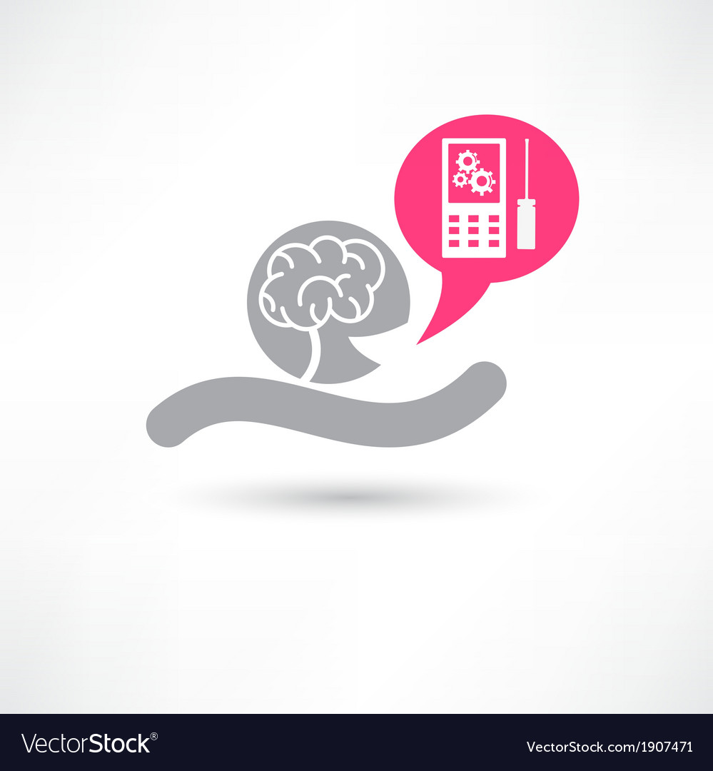 Brain and smartphone icon vector | Price: 1 Credit (USD $1)