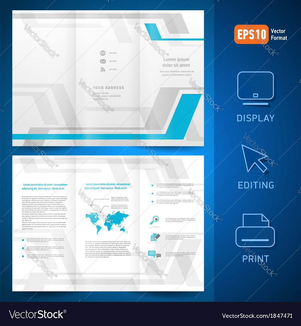 Brochure design template folder leaflet geometric vector | Price: 1 Credit (USD $1)