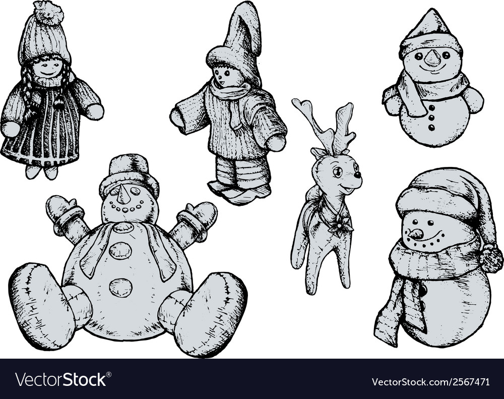 Christmas puppets - hand drawn vector | Price: 1 Credit (USD $1)