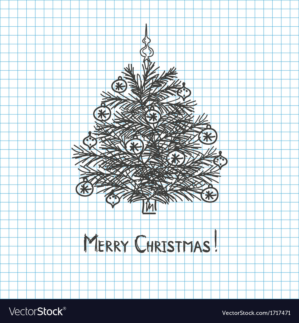 Christmas tree drawn in pen notebook vector | Price: 1 Credit (USD $1)