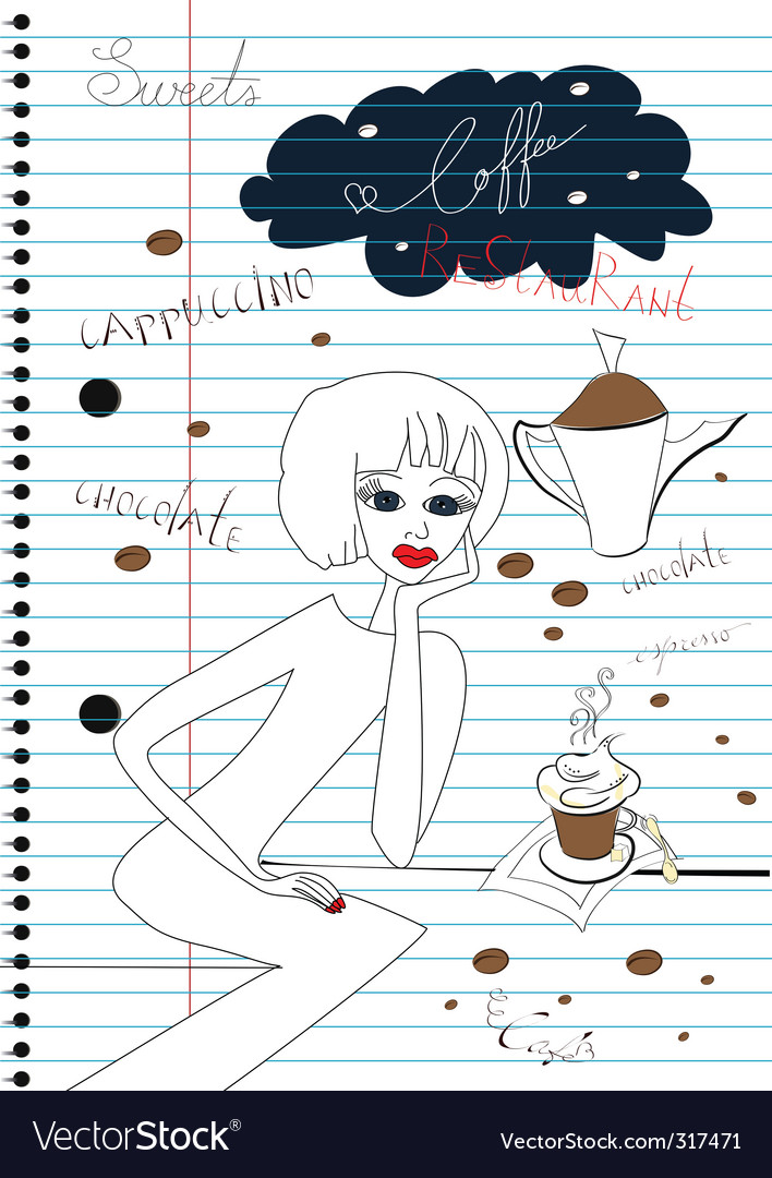 Coffee sketch vector | Price: 1 Credit (USD $1)