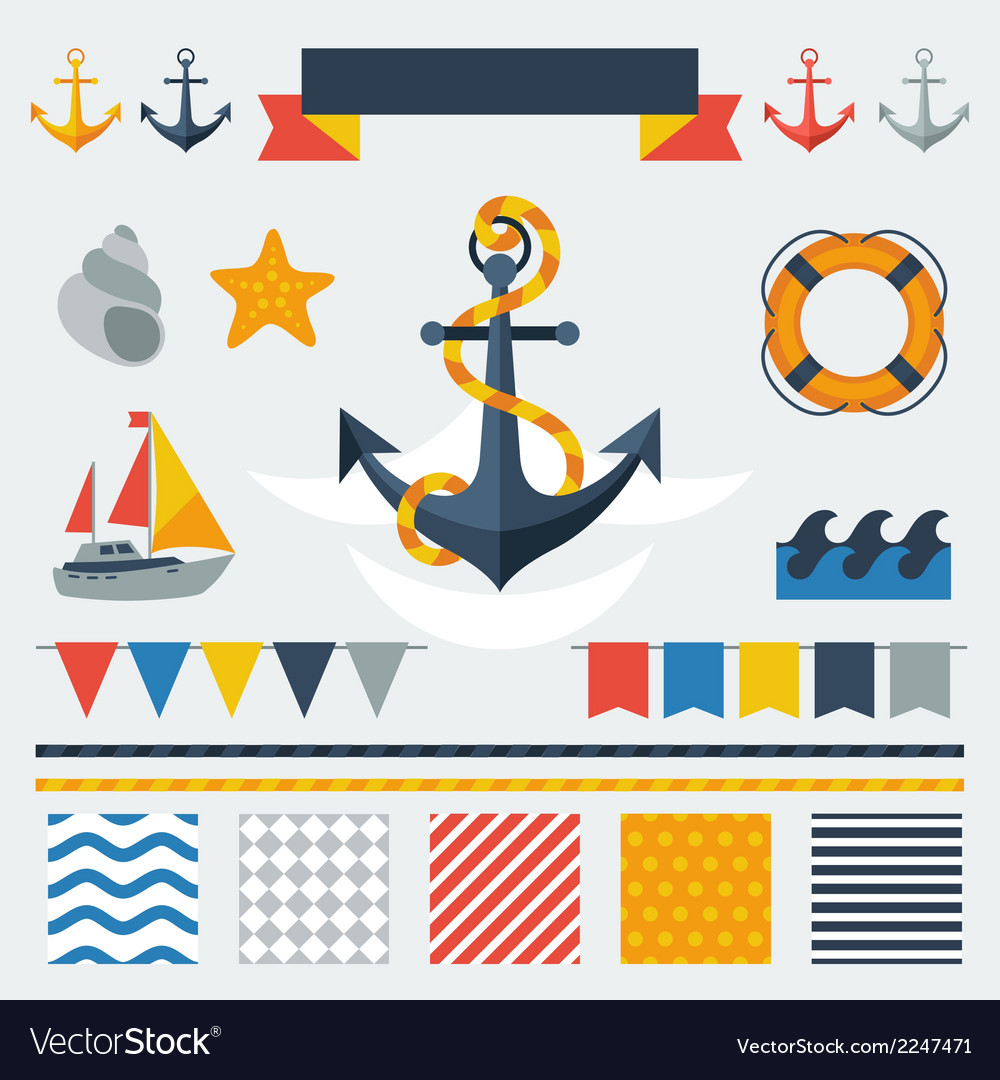 Collection of nautical symbols icons and elements vector | Price: 1 Credit (USD $1)