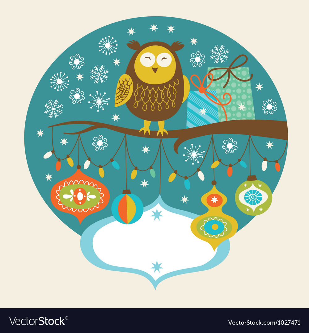 Cute owl on the branch vector | Price: 3 Credit (USD $3)