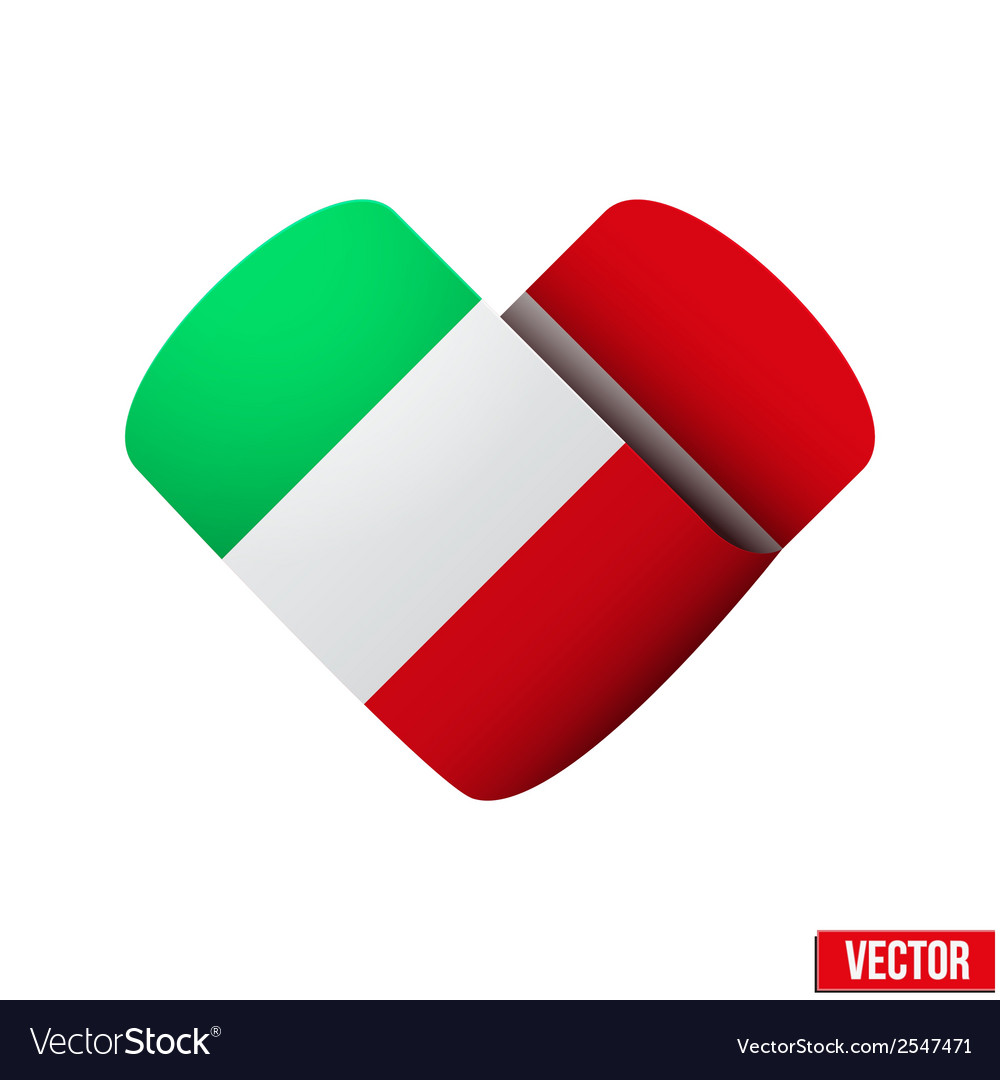 Flag icon in the form of heart i love italy vector | Price: 1 Credit (USD $1)
