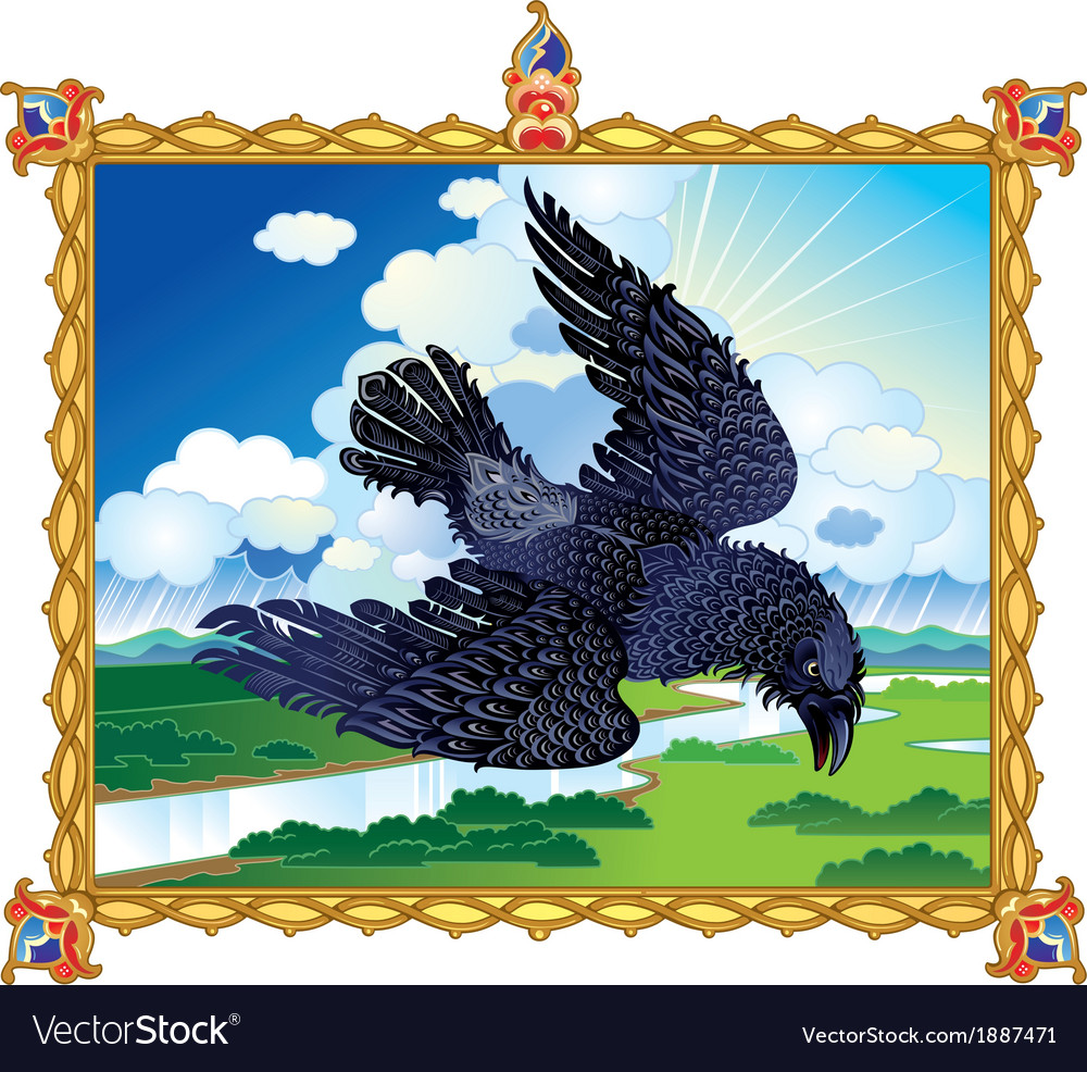 Folk raven vector | Price: 1 Credit (USD $1)